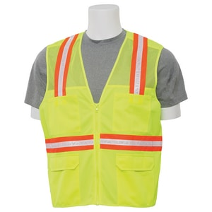 ERB Safety Resuable Surveyor's Vest & Mesh Back Zip Front in Lime E61321