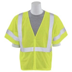ERB Safety XXL Size Class 3 Plastic Vest in Hi-Viz Lime E14553