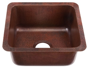 Thompson Traders Como 1-Bowl Solid Copper Under Mount Bar Sink TKPU1715