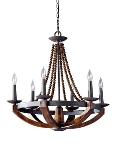Murray Feiss Industries Adan 26-3/8 in. 60 W 6-Light Candelabra Chandelier MF27496RIBWD
