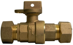 A.Y. McDonald 3/4 in. CTS Compression Brass Ball Curb Stop Lockwing M76100WTFEF