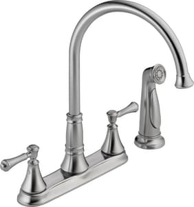 Delta Faucet Cassidy™ 1.8 gpm Double Lever Handle Deckmount Kitchen Sink Faucet 360 Degree Swivel Spout 1/2 in. NPSM Connection D2497LF