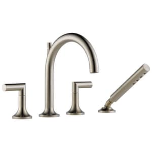 Delta Faucet Odin® 18 gpm4-Hole Roman Tub Trim with Hand Shower and Double Lever Handle (Trim Only) DT67475