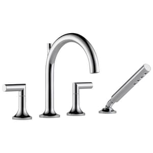 Brizo Odin™ 4-Hole 18 gpm Roman Tub Trim with Hand Shower and Double Lever Handle DT67475