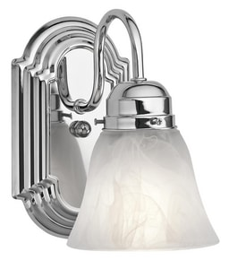 Kichler Lighting New Street 100W 1-Light Wall Sconce with Alabaster Glass in Polished Chrome KK5334CH