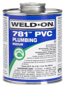 Weld-On 1 qt PVC Medium Body Low Volatile Organic Compound Cement in Grey IPS14011