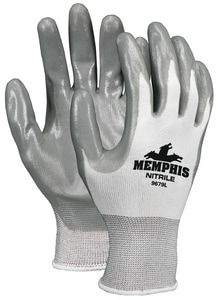Memphis Glove Small Nylon Dipped Glove in Gray M9679S