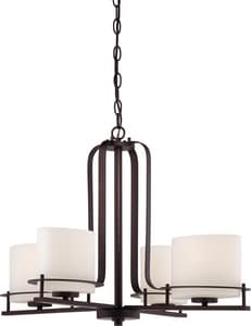 Nuvo Lighting Loren 60W 4-Light Medium E-26 Incandescent Chandelier with Etched Opal Glass in Venetian Bronze N605004