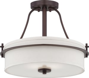 Nuvo Lighting Loren 60W 2-Light Medium E-26 Incandescent Semi-Flush Ceiling Light with Etched Glass N605007