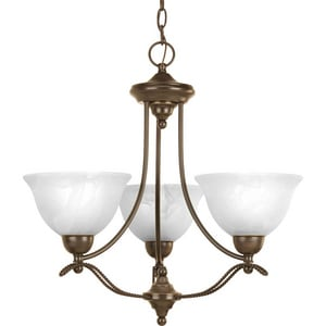 Progress Lighting Avalon 96 in. 100 W 3-Light Medium Chandelier with Alabaster Swirl Glass in Antique Bronze PP406720