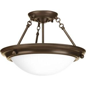 Progress Lighting Eclipse 100W 2-Light Medium Incandescent Semi-Flush Ceiling Light in Antique Bronze PP348320