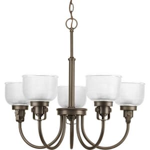 Progress Lighting Archie 100W 5-Light Medium Chandelier with Clear Prismatic Glass PP4689