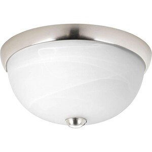 Progress Lighting 11 in. 1-Light LED Flushmount with Alabaster Glass Shade PP3687WB