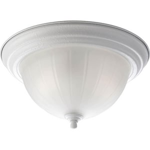 Progress Lighting Melon Glass 13-1/4 in. 2-Light Close-to-Ceiling Fixture with Etched Ribbed Glass Shade PP3817EB