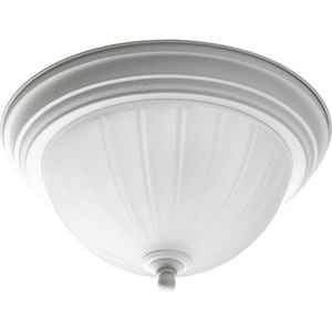 Progress Lighting Melon Glass 11-3/8 in. 1-Light LED Flushmount with Etched Ribbed Glass Shade PP3816EB