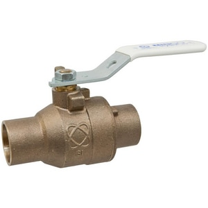 Nibco S-585-66-LF 2-Piece Bronze and Stainless Steel Solder Full Port Ball Valve with Lever Handle NS58566LF