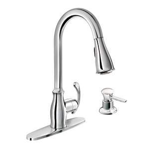 Moen Kipton 1.5 gpm Single Lever Handle Deckmount Kitchen Sink Faucet High Arc Spout 3/8 in. Compression Connection M87910