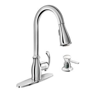 Moen Kipton 1.5 gpm Single-Handle Deck Mount Kitchen Sink Faucet High Arc Spout 3/8 in. Compression Connection M87910