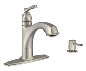 Moen Boardwalk™ 1.5 gpm Single-Handle Deck Mount Kitchen Sink Faucet High Arc Spout 3/8 in. Compression Connection M87659SRS