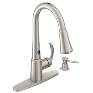 Moen Delaney 2 gpm Single Lever Handle Deckmount Kitchen Sink Faucet High Arc Spout 3/8 in. Compression Connection M87359E