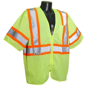 Radians Mesh Safety Vest in Hi-Viz Green RSV223ZGM at Pollardwater