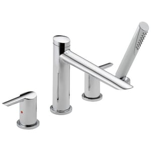 Delta Faucet Compel® Roman Tub Faucet with Handshower 4 Hole 2-Handle Lever Deck Mount DT4761