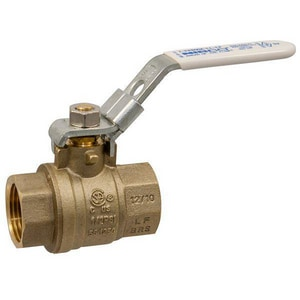 Nibco 2-Piece Brass Threaded Full Port Ball Valve with Locking Lever Handle NTFP600ALLLF