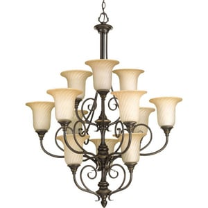Progress Lighting Kensington 34 in. 100W 12-Light Medium Incandescent Chandelier in Forged Bronze PP431477