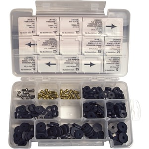 Lincoln Products® Flat Bibb Washer and Screw Boxed Kit 205 Pieces LIN110119