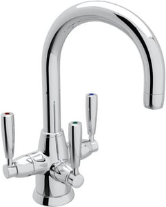 Rohl Perrin & Rowe® 1-Hole Deckmount Lavatory Faucet with Triple Metal Lever Handle and 6-3/8 in. Spout Height RU1380LS2