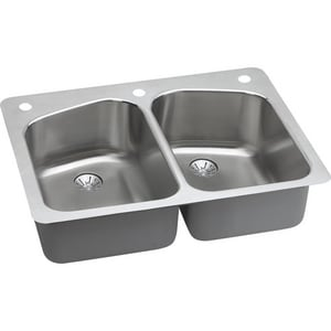 Elkay Harmony™ 33 x 22 in. Equal Double Bowl Dual/Universal Mount Sink Kit ELKHSR33229PD2R