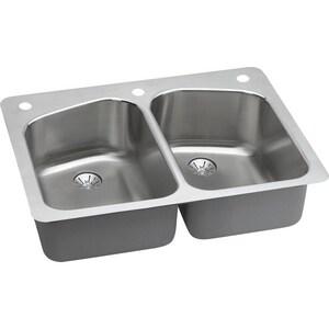 Elkay Harmony™ 1-Hole 2-Bowl Topmount Kitchen Sink Kit with Perfect Drain ELKHSR33229PD1