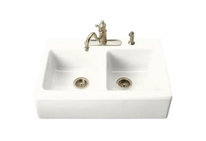 Kohler Hawthorne™ 3-Hole 2-Bowl Kitchen Sink K6534-3