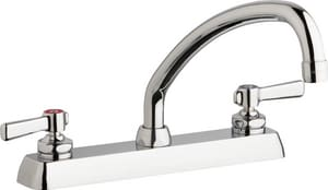 Chicago Faucet 2-Hole Wall Mount Hot and Cold Water Workboard Sink Faucet with Double Lever Handle CW8DL9E35369AB