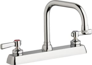 Chicago Faucet Hot and Cold Water Workboard Sink Faucet with Double Lever Handle in Polished Chrome CW8DDB6AE1369ABCP