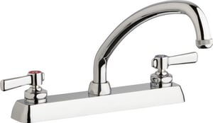 Chicago Faucet Hot and Cold Workboard Faucet with 5 in. Spout and Double Lever Handle CW8DL9E1369AB
