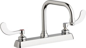 Chicago Faucet 2-Hole Hot and Cold Water Dispenser with Double Wristblade Handle and Rigid Spout in Polished Chrome CW8DDB6AE1317ABCP