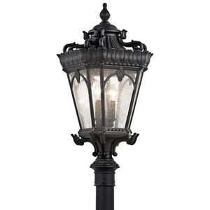 Kichler Lighting Tournai 60W 4-Light Outdoor Post Lamp in Textured Black KK9559BKT