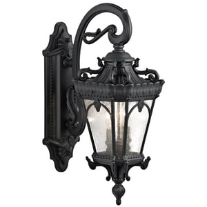 Kichler Lighting Tournai 14-3/4 in. 60W 2-Light Outdoor Wall Sconce with Clear Seeded Glass in Textured Black KK9357BKT