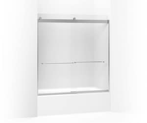 Kohler Levity® 62 x 59-5/8 in. Frameless Sliding Bath Door with Frosted Glass and Towel Bar K706004-D3