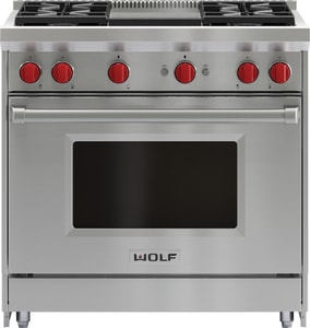 Wolf Range 36 in. 4-Burners Range With Griddle WGR364G