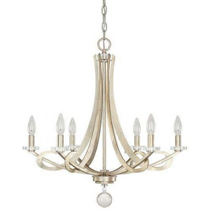 Capital Lighting Fixture Hutton 26-1/4 in. 60 W 6-Light Candelabra Chandelier in Winter Gold C4266WG000
