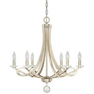 Capital Lighting Fixture Hutton 26-1/4 in. 60 W 6-Light Candelabra Chandelier C4266WG000