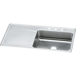 Elkay Classic 4-Hole 1-Bowl Self-rimming or Drop-in Kitchen Sink with Left Hand Drain Board in Lustertone EILR4322R4