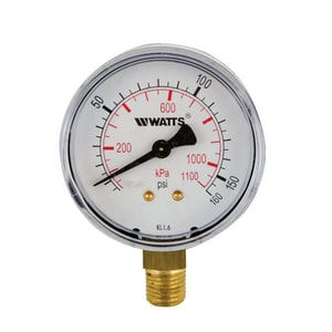 Watts 3 x 1/4 in. Brass Pressure Gauge WLFDPG130B