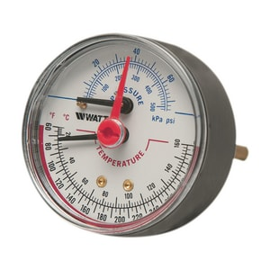 Watts 3 x 1/2 in. Back Entry Pressure and Temperature Gauge WLFDPTG330D