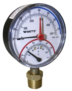 Watts 1/2 in. Bottom Combination Pressure and Temperature Gauge WLFDPTG130D
