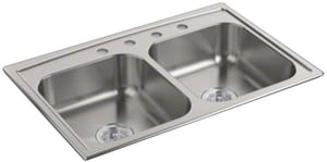 Kohler Toccata™ 33 x 33 in. Top Mount Double-Equal Bowl Kitchen Sink K4015-4-NA