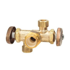 Brass Craft 1/2 in x 3/8 in. Dual Outlet Dual Shutoff Angle BPR1901DVXR