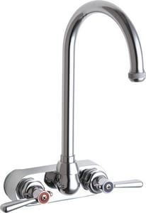 Chicago Faucet 4 in. 2-Handle Wall Mount Hot & Cold Water Dispenser Gooseneck Spout C521GN2AE1ABCP